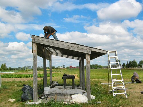 Screwing down galvanized steel roofing
