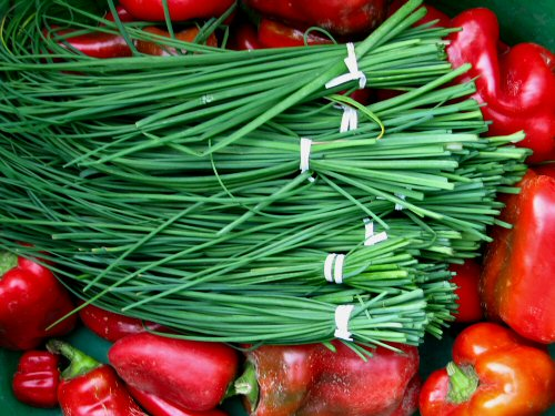 Chives and red peppers