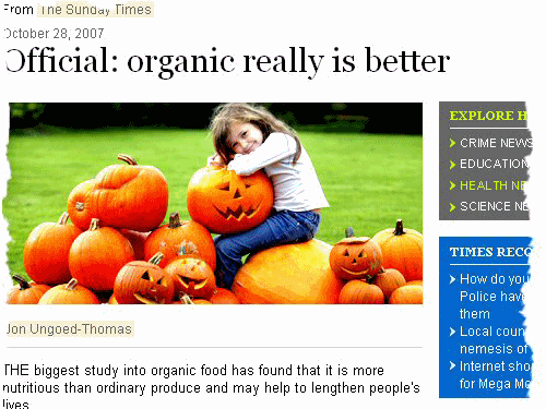 New organic study  says organic vegetables are better