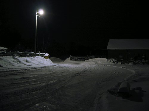 Barnyard at night