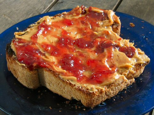 Peanut butter and jam on local toast