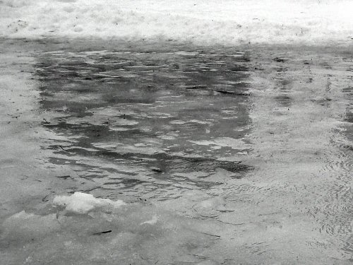 Puddles on ice