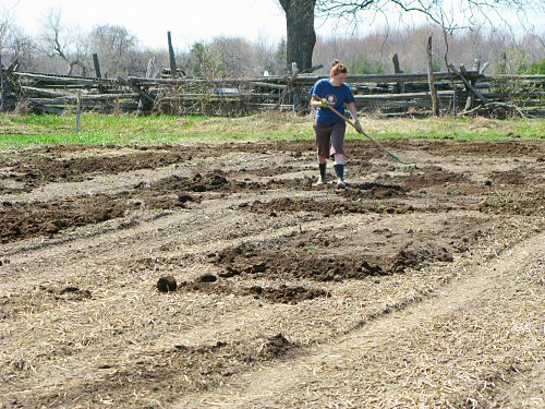 Spreading compost