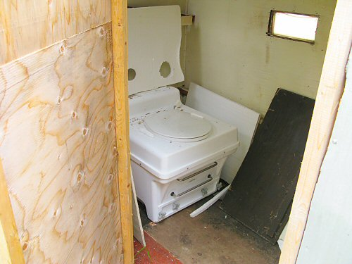 Composting toilet in former ice fishing hut