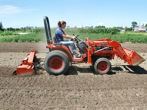 Rototilling with the Kubota compact tractor