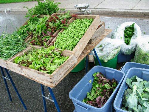 Rainy day at the farmers\' market