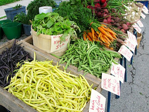 Freshly-loaded farmers' market stand