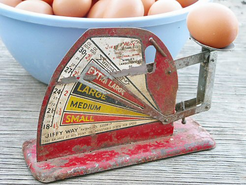Weighing eggs