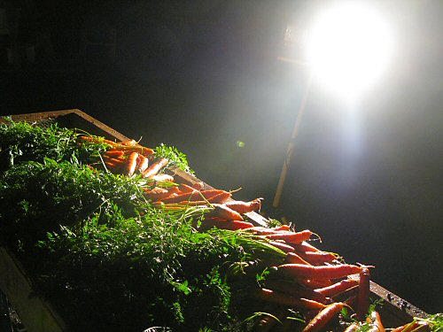 Rinsing carrots at night