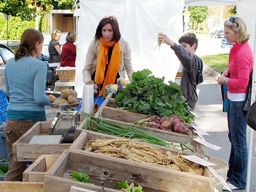 Mid-morning at the farmers' market