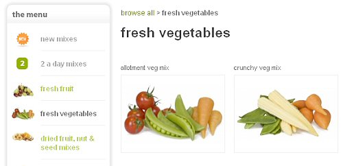 Graze veggie selection