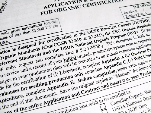 Organic certification application