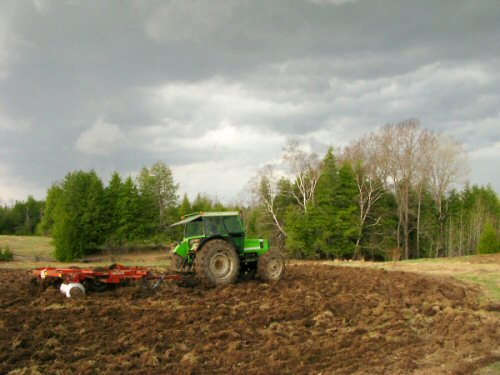 Plowing just ahead of the weather