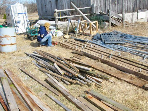Sorting out the hoophouse pieces