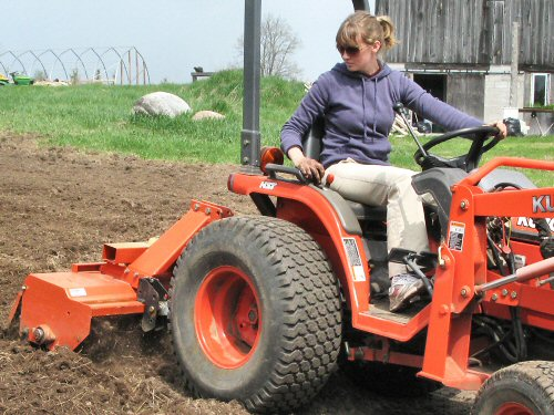 Rototilling on the Kubota