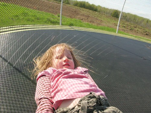 Laid back on the trampoline