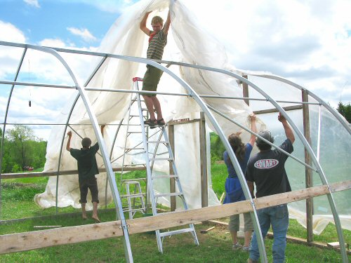 Hoophouse: getting the plastic over