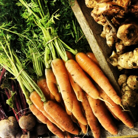 Fall harvest: carrots, beets, Jerusalem artichoke